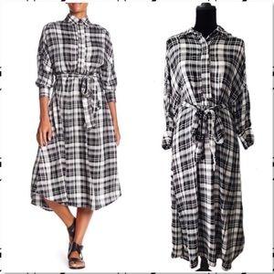 Eva Franco Matilda Plaid Midi Shirt Dress NWT